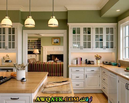 مطبخ قمة في الجمال باللون الأخضر