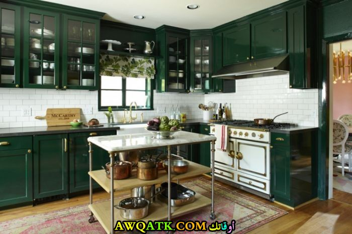 مطبخ باللون الزيتي عصري وجديد