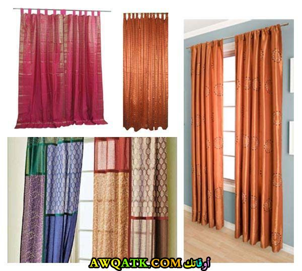 من أجمل وأحلي أشكال الستائر الحرير الهندي