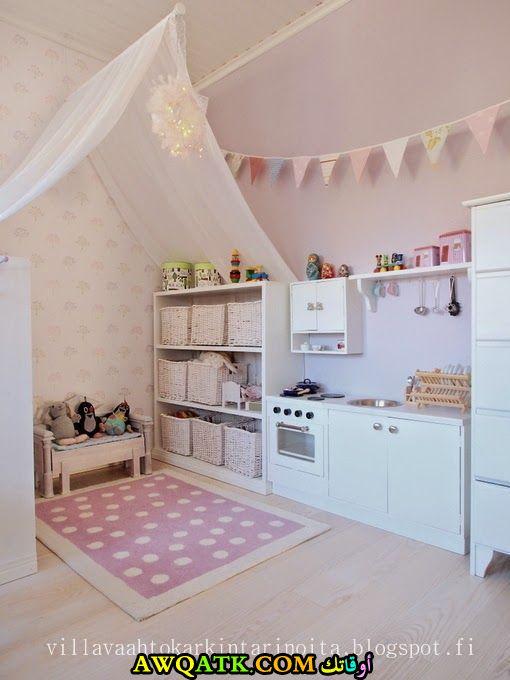 غرفة نوم فيلا للبنات بتصميم هادى جداً و رقيق