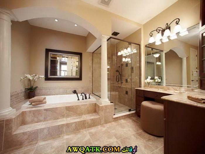 ديكور حمام رخام باللون البيج قمة الشياكة