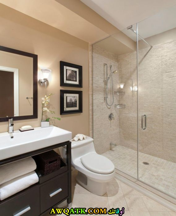 ديكور حمام فنادق صغير بتصميم راقى وشيك