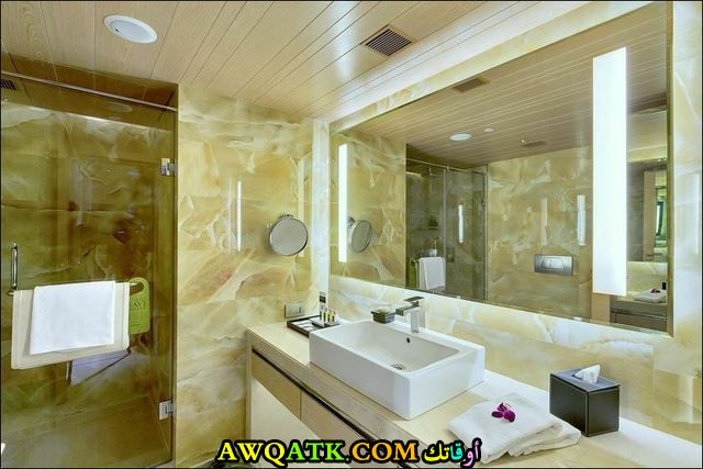 ديكور حمام فنادق فخم بتصميم جميل يناسب الذوق الهادى