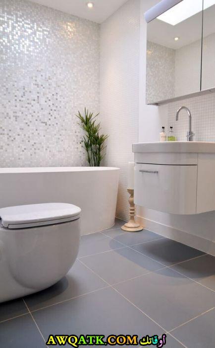 ديكور حمام مودرن باللون الأبيض