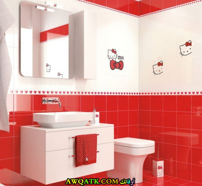 ديكور حمام ابيض واحمر جميل جداً ورائع