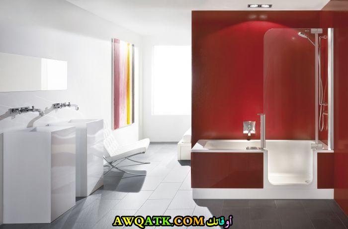 ديكور حمام ابيض واحمر راقى جداً وشيك