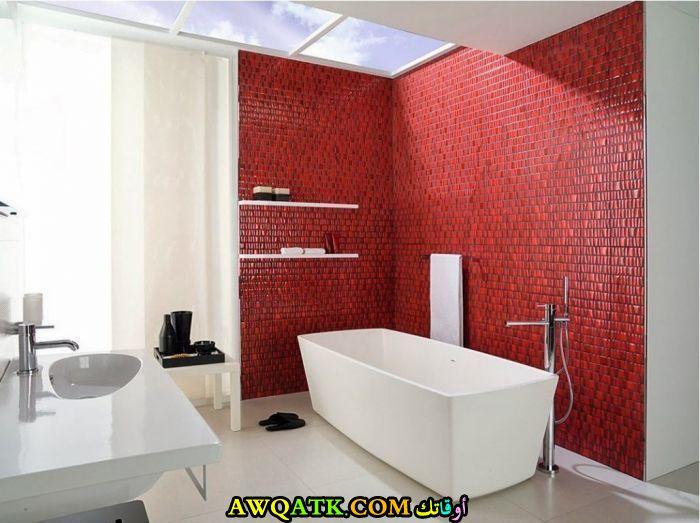 ديكور حمام ابيض واحمر جديد وعصرى