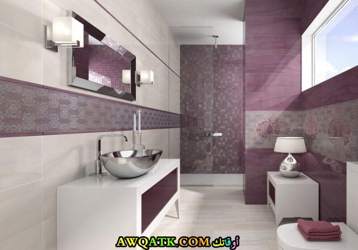 ديكورات حمامات باللون الموف والأبيض جديد 2018