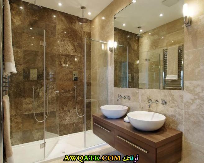 ديكور حمام باللون البنى مودرن جديد