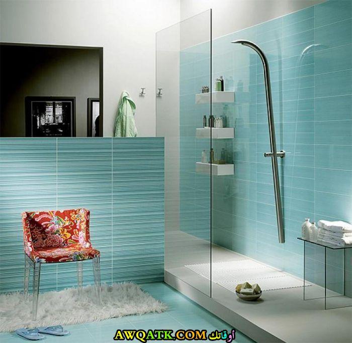 ديكور حمام باللون التركواز جميل جداً