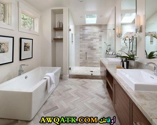 ديكور حماما باللون الرمادى جميل جداً
