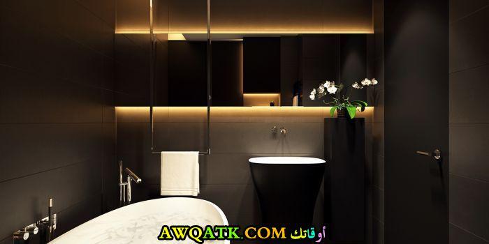 ديكور حمام باللون الأسود والذهبى مودرن جديد 2018