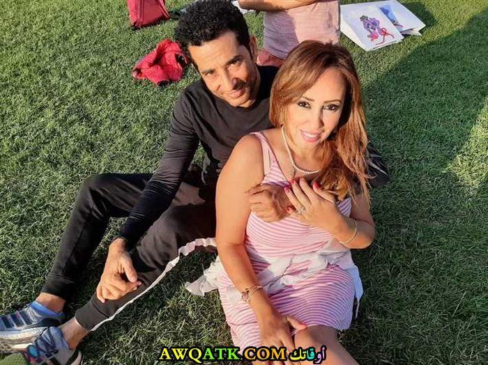 عمرو سعد مع زوجته